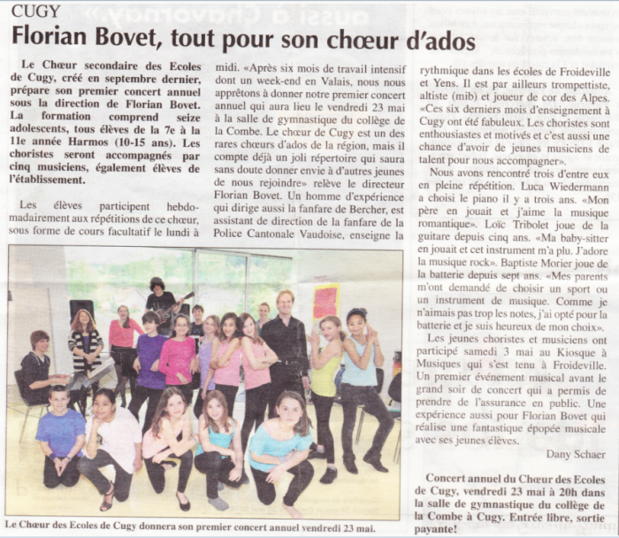 20140516 Article Echo du Gros-de-Vaud