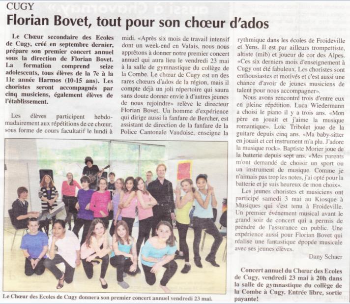 20140516 Article Echo du Gros-de-Vaud
